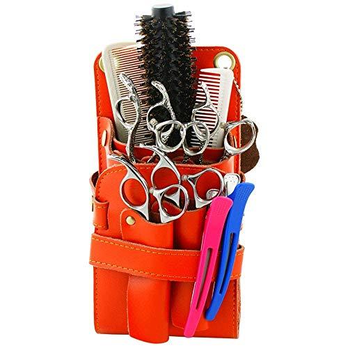 Nfudishpu Multifunktions-Friseur Holsterbeutel selbst Leder Scherenkamm Friseur Gürtel Beutel Werkzeug (Farbe: Orange) schnell