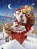 Diy Pintura digital Chimenea Regalo para pintar por mesa de números Kit de pintura por número de Papá Noel para niños principiantes con pincel y pintura Regalo Decoración de cumpleaños