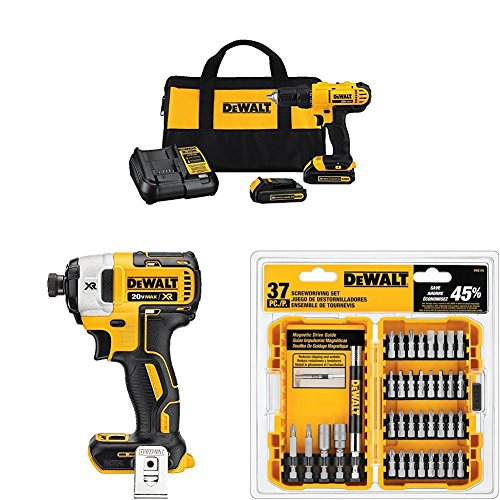 Dewalt DCD771C2 20V MAX Cordless Lithium-Ion 1/2 inch Compact Drill Driver Kit + Speed Impact Driver...