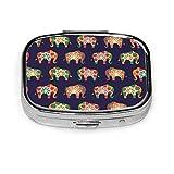 Patrón de elefante colorido en la paleta de colores asiáticos brillantes Caja de pastillas cuadrada azul Cajas decorativas Pastillero Medicina Tablet H