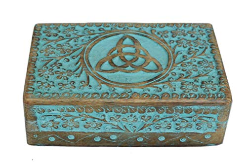 Antique Handmade Wooden Urn with Celtic Knot Design Handcarved Jewellery Box for Women-Men| Home Decor Accents | Decorative Boxes | Storage & Organiser, Greenwashed Offer| Valentine Day Gift