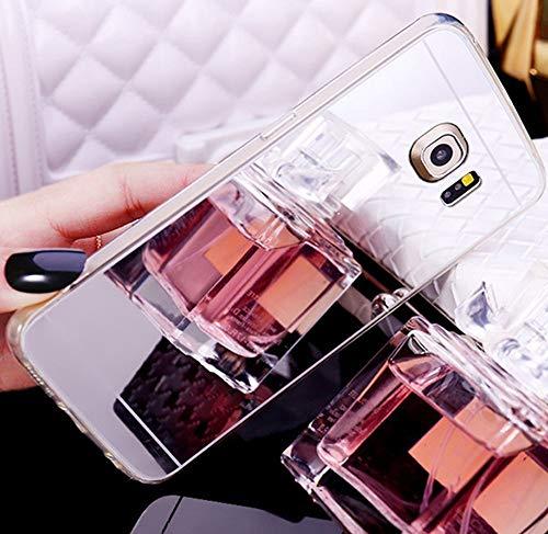 Jinghuash Coque Compatible avec Samsung Galaxy S6,Miroir Coque en Silicone Ultra-Mince Etui Housse de Protection Cristal Clair Soft Gel TPU Shockproof Bumper Case Mirror Effect Cover-Argent