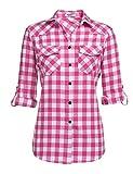 Unibelle Camisa a cuadros de manga larga para mujer, de algodón, con mangas ajustables Rosa S