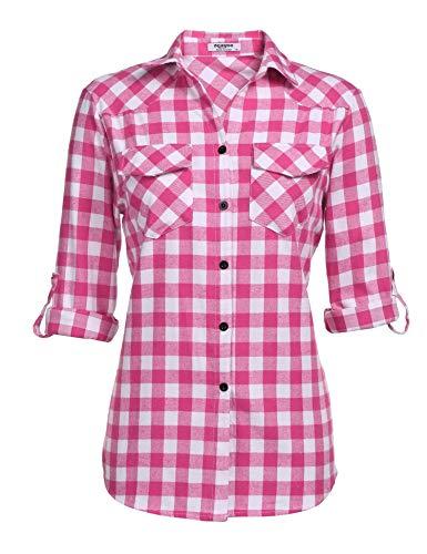 UNibelle Kariertes Hemd Damen Langarm Karohemd Bluse Damen Baumwolle mit Einstellbare Ärmeln(Rose,S)
