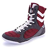 FJJLOVE Zapatos De Lucha Libre Unisex, Botas De Boxeo Altas Encaje hacia Arriba Botas Luchadoras Luchadoras Antideslizante Suela De Goma Sin Deslizamiento Zapato Transpirable Zapato,Rojo,41
