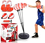 Kidore Punching Bag for Kids - Adjustable Kids Punching Bag with Stand, Gloves, and Free Air Pump + 1 Extra Boxing Bag - Ideal Christmas and Birthday Toy Gift Set for Boys and Girls 3-8 Years Old