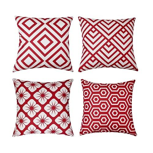 TIDWIACE Funda de cojín de 4 piezas, estilo geométrico moderno, 45 x 45 cm, cuadradas, decorativas, fundas de almohada de lujo para sofá, sala de estar, sofá cama con cremallera invisible (rojo)