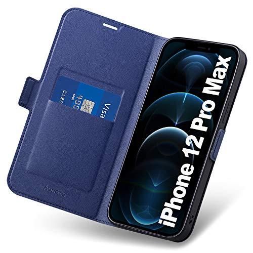 Funda iPhone 12 Pro MAX, Fundas iPhone 12 Pro MAX Libro, Carcasa iPhone 12 Pro MAX con Cierre Magnético, Tarjetero y Suporte, Capa iPhon 12 Pro MAX Plegable Cartera, Tipo Étui Piel Protección.Azul