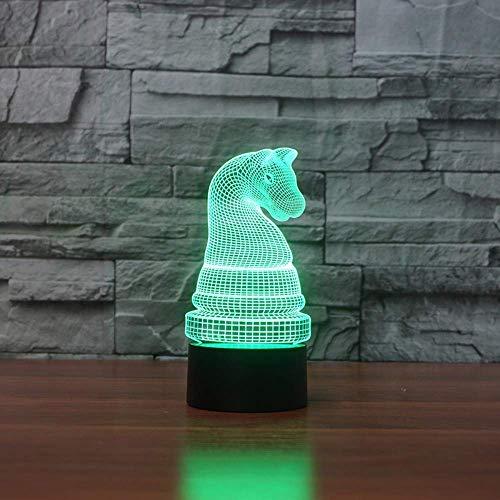 WLJ XYD Lampara Novedad, Ajedrez Moldeo lámpara de Mesa Color 7 Que Cambia el ajedrez Caballo Led luminaria Regalo del sueño de Noche Iluminación Decoración del Dormitorio-Touch (Color : Touch)