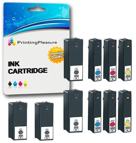 10 Compatibles 100XL Cartuchos de tinta para Lexmark S300 S301 S305 S308 S405 S408 S505 S605 S815 S816 Pro 202 205 208 209 702 705 706 805 901 902 903 905 - Negro/Cian/Magenta/Amarillo, Alta Capacidad