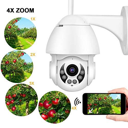 WIFI 1080P bewakingscamera, 1080P IP IR-CUT 4x digitale zoom security dome-camera voor gebruik buitenshuis, ondersteuning voor TF-kaart / spraakintercom / gezichtsherkenning, ondersteuning voor ONVIF (EU)