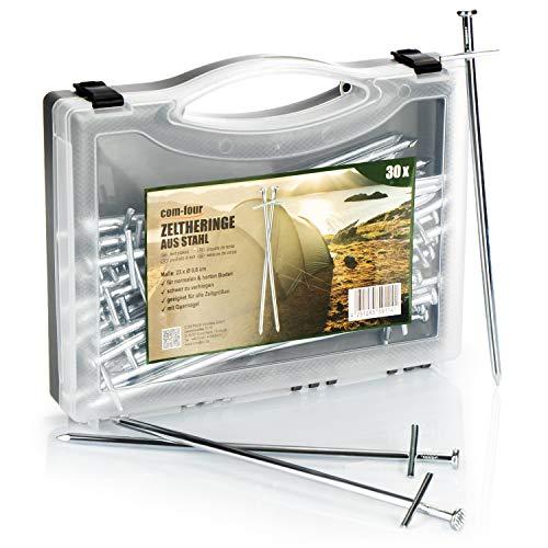com-four® 30x Zelt-Heringe aus Stahl - Lange und robuste Erdnägel für Camping und Outdoor - ideal für normalen und harten Boden