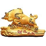 Feng Shui Denaro d'oro Bue Ricchezza Statua Figurine Resina Zodiaco Cinese Complementi Arredo Casa Buona Fortuna Ricchezza Auto Decor Feng Shui Decorazione