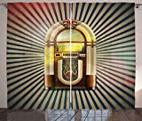 FAFANIQ Jukebox Curtains, Retro Vintage 50s Pin up Inspired Striped Backdrop Old Music Box, Living R...