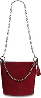 Nico Louise women's Genuine Suede Leather Shoulder Purse Small Bucket Bag