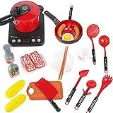 Wencaimd Cocina Set Juguete Impermeable Plástico Miniatura Fingir rol Juego Juegos Ollas Sartenes Utensilios de Cocina Juguetes Educativos para Bebé Niño Chicas Chicos - Rojo