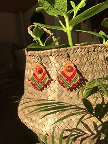 ⫷ZION TIGER AUGEN OHRRINGE⫸ makramee in Reggae-farben angefertigt mit Acai Samen aus Bolivien