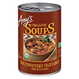 One 14.3 oz. can of Amy's Organic Fire Roasted Southwestern Vegetable Soup the whole family will love Made with organic, fire-roasted corn, onions, green peppers, black beans, and mildly seasoned green chiles and spices Great when served with a warm,...