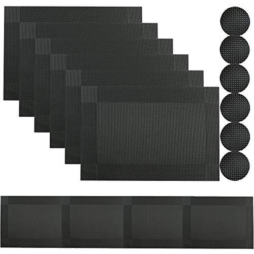 Famibay Abwaschbar Plastik Platzsets und Untersetzer 6er Set mit Tischläufer 180cm Schwarz Hitzebeständig Tischsets für Küche