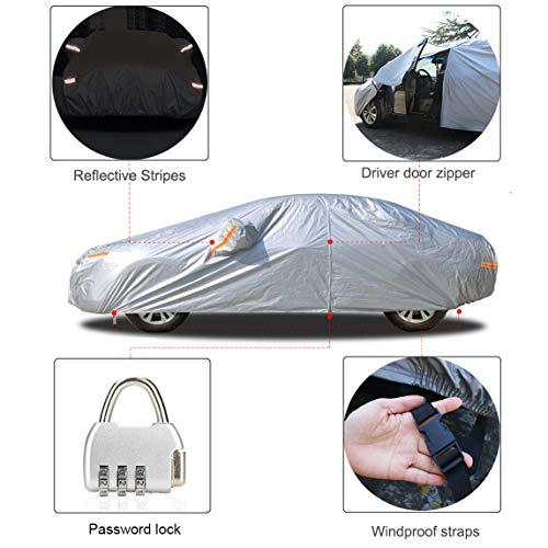 kayme Car Cover for Automobiles All Weather Waterproof with Lock and Zipper Door, Outdoor Cover Sun Uv Rain Protection, Fit Sedan (194 to 208 Inch) H4