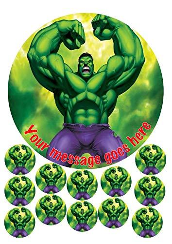 Hulk - Decoración comestible para tarta (19 cm, 12 x 3,8 cm, diseño de fondant, decoración redonda)