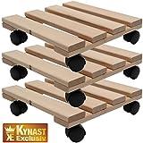 Drei Pflanzenroller Holz MASSIV aus stabilem Buchenholz eckig 30 cm x 30 cm bis 120 KG