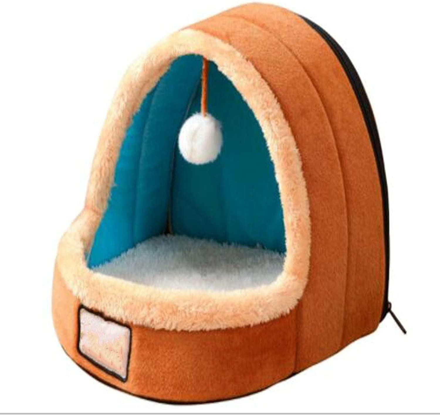 Tent Bed for Pets,Best Pet Supplies Warm and Comfortable Portable Indoor Pet House Bed,Suitable for Cats, Dogs, Rabbits and Other Pets (Three (color   Brown, Size   L)