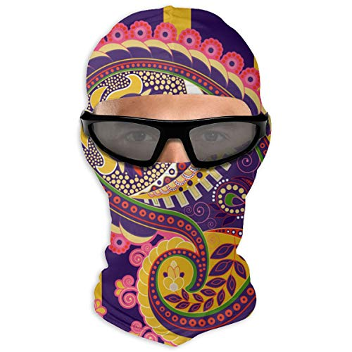 N/A Full Face Seamless Pattern Indian Floral Ornament Hood Sunscreen Full Face Shields Dual Layer Cold For Men And Women