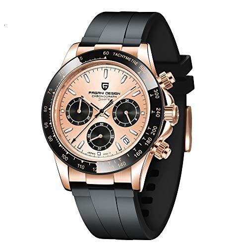 Pagani Design - Reloj de pulsera para hombre, movimiento japonés, cronógrafo, acero inoxidable, multifunción, cuarzo, resistente al agua