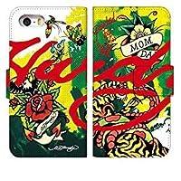 [らくらくスマートフォン F-42A] スマホケース 手帳型 ラクラクスマートフォン f42a ケース 手帳 おしゃれ f-42a カバー 人気 かっこいい クール エドハーディ デザイン 柄 0270-C. Rose and Tiger スマートフォン 手帳型ケース Fujitsu 富士通 docomo ドコモ スマホゴ