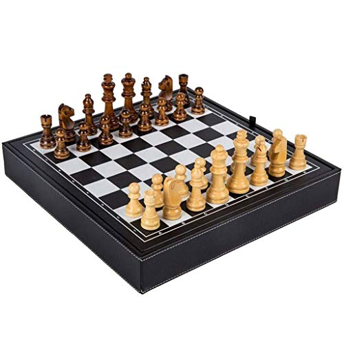 JHSHENGSHI Chess Board MDF Board Frame Matte Leather Bag Surface Wooden Chess Set Western Checkers Adult Entertainment Games (Intellectual Entertainment)