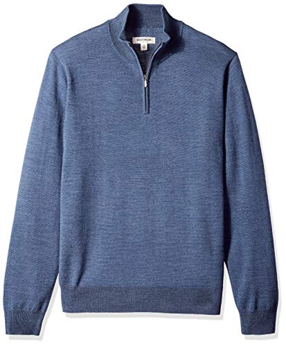 Amazon Brand - Goodthreads Men's Lightweight Merino Wool Quarter Zip Sweater, Denim, Large