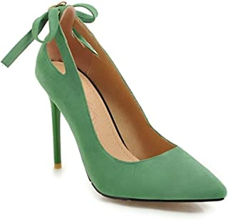 Hollow Bow High Heels For Banquet Wedding Dress Daily (Color : Green, Size : 35)