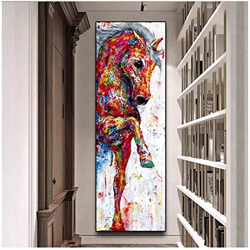 Leinwand Malerei Große Größe Kunst Poster Pferd Bild Wandkunst Poster Drucke Tiermalerei Wohnkultur 50x150cm (20x59 in) Kein Rahmen