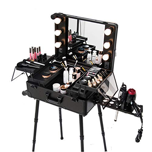 Pro Makeup Case Rolling Studio Cosmetic Train Table, Beauty Artist Makeup Station with Wheels & Lights & Mirror, Professional Trolley Free Standing Case with Adjustable Legs