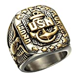 JAJAFOOK Men's Gold Plated Anchor United States USN Navy Military US Army Marine Biker Ring