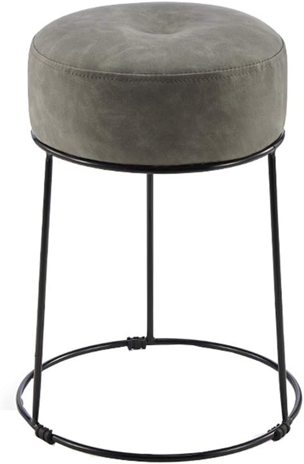 Nordic Makeup Stool,Simple Round Barstool Romantic Tall Stool Pouffe with Soft Seat for Bar Kitchen Bistro Pub Breakfast,Max Load 150kg,35 x 35 x47 cm