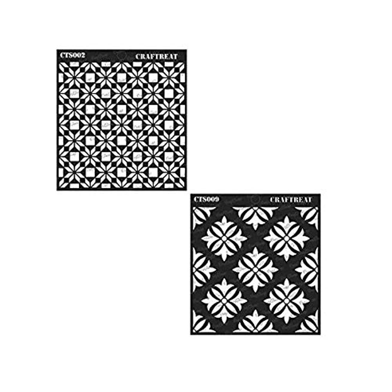CrafTreat Flower Tile Stencil & Tuberose Stencil (2 pcs) | Reusable Painting Template for Home Decor, Crafting, DIY Albums and Printing on Paper, Floor, Wall, Tile, Fabric, Wood 6