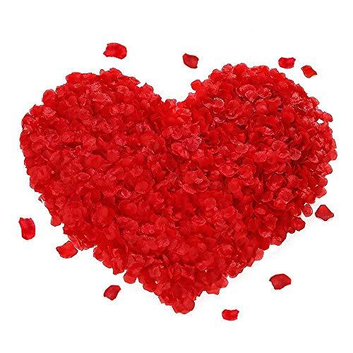 FYSL 1000 Stück Rosenblüten Künstliche Gefälschte Rosenblätter für Hochzeit Party Dekoration und Romantische Atmosphäre(Rot)