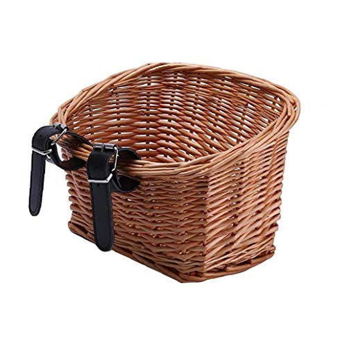 Wicker Basket for Bike Retro Handmade Bicycle Front Basket Handlebar Large Basket with Leather Straps