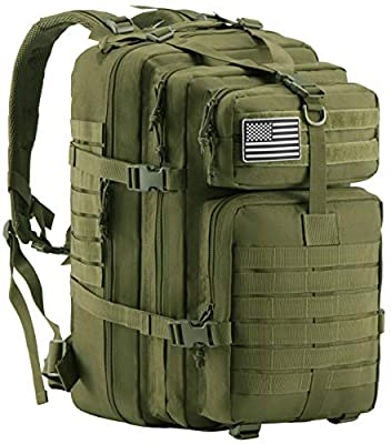 Luckin Packin Military Tactical Backpack, Molle Bag, Rucksack Pack, 45 Liter Large Green