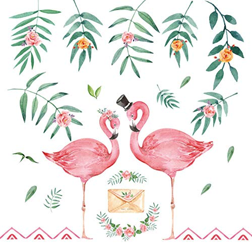Pink Ins Bedroom Decoration Wallpaper Wall Decor Stickers Bedroom Bedside Warm Flamingo Wall Stickers DIY Home Decals