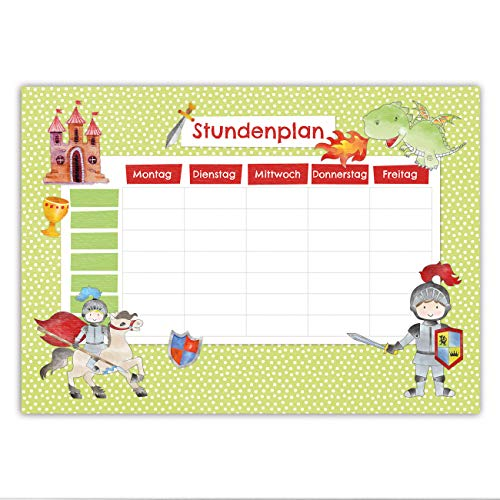 Papierdrachen Stundenplan DIN A5 Block - Motiv Ritter - beschreibbar Schule - Terminkalender und Wochenplan