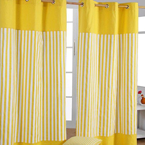 Homescapes dekorativer Vorhang Ösenvorhang Dekoschal Thick Stripes im 2er Set, gelb weiß, 137 x 182 cm (Breite x Länge je Vorhang), 100% Reine Baumwolle