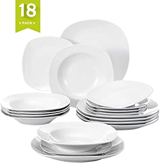 Malacasa 18 Pieces Dinnerware Set Square Dishes White; Includes 6 Dinner Plates 6 Soup Plates 6 Dessert Plates, Service for 6 Series Elisa