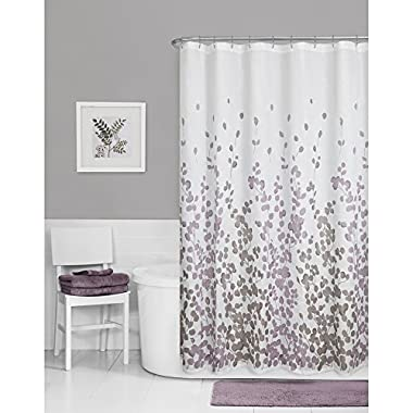 Maytex Sylvia Printed Faux Silk Fabric Shower Curtain, Purple