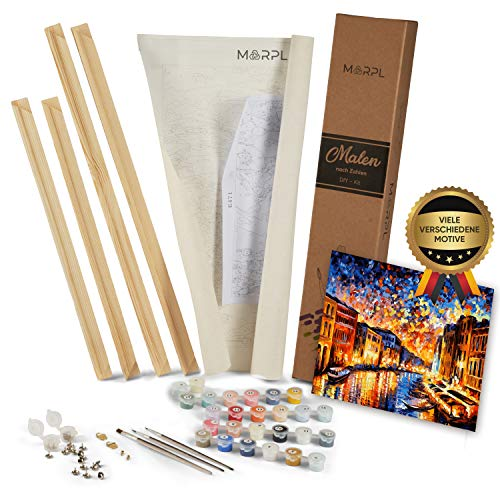 MARPL® Malen nach Zahlen Erwachsene [DIY-Kit] mit Rahmen - Malset mit vorgedruckter Leinwand für Gemälde Acrylfarben Kreativ Motiv 40 * 50cm Venedig