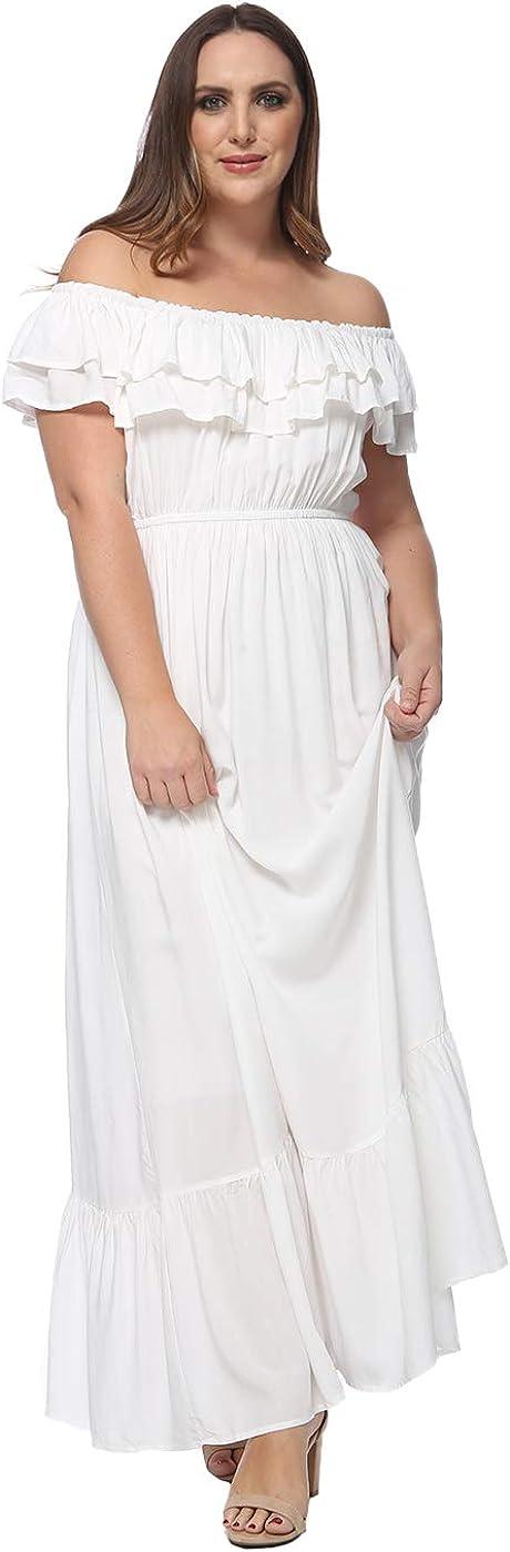Anna-Kaci Women's Plus Size Boho Ruffle Off Shoulder Stretchy Maxi Long Dress