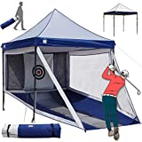 HG Golf-Hitting-Nets Full Size Gazebo Combination for Indoor and Outdoor Golfing Practice, 2-in-1 Large Portable Golf Driving Chipping Net Cage and Sunshade Canopy Combo