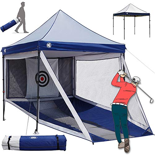 HG Golf Hitting Nets Full Size Gazebo Combination for Indoor and Outdoor Golfing Practice, 2-in-1 Large Portable Golf Driving Chipping Net Cage and Sunshade Canopy Combo